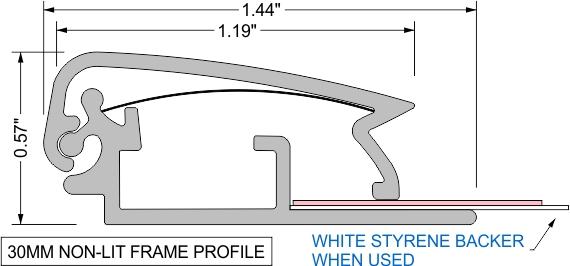30mm non-lit frame profile